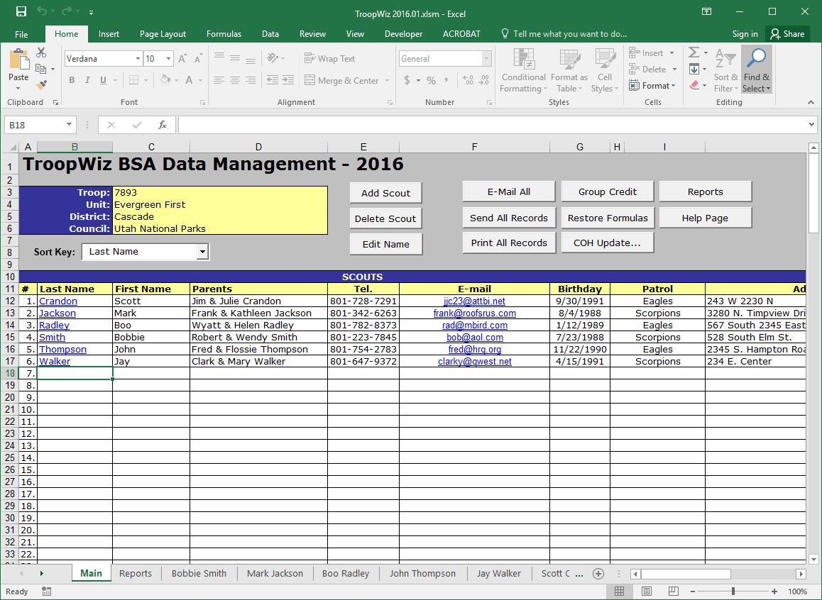 Scout Troop Management Database TroopWiz